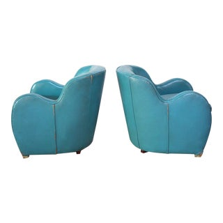 Scandinavian Deco Club Chairs in Blue Leather and Velvet For Sale