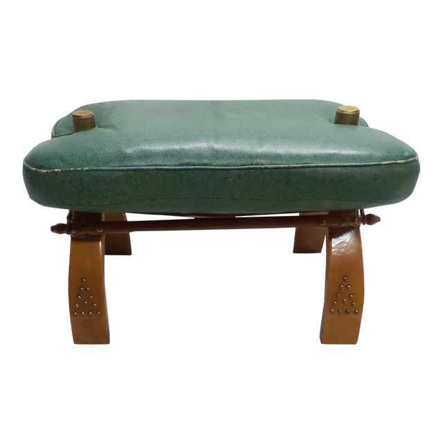 Vintage Camel Saddle Stool with Teal Cushion For Sale