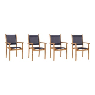 Pearl Stacking Teak Outdoor Dining Armchair in Blue (Set of 4) For Sale