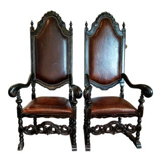 Maitland Smith Leather Throne Chairs - a Pair For Sale