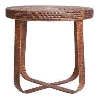 Boho Chic Artifacts Rattan Side Table For Sale
