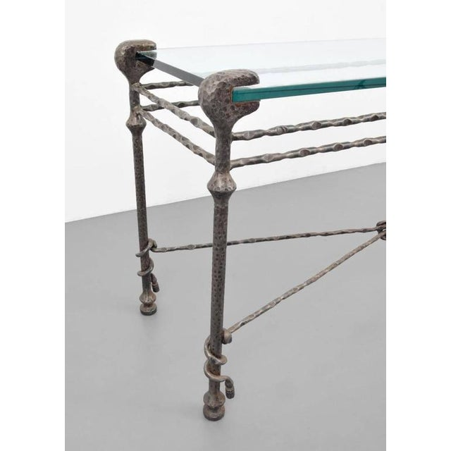 Metal Diego Giacometti style Mid-Century Hammered Iron Console Table For Sale - Image 7 of 8