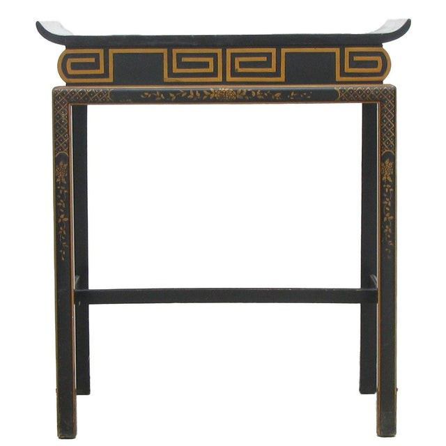 Chinoiserie Black Lacquer Accent Table For Sale - Image 6 of 6