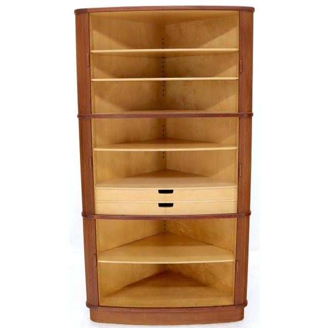 Wood Rare Large Tambour Door Danish Modern Teak Corner Cabinet For Sale - Image 7 of 13