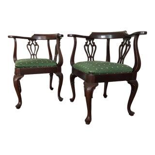 1990s Vintage Ethan Allen Georgian Court Cherry Corner Chairs- A Pair For Sale
