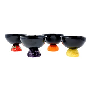 Vintage Tutti Frutti Lemon Orange Strawberry Grape Bowls Set of 4 For Sale