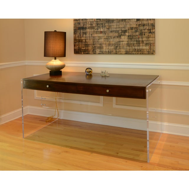 Gorgeous designer desk, lucite base with dark mahogany finish top. Two large drawers. Excellent, perfect condition.