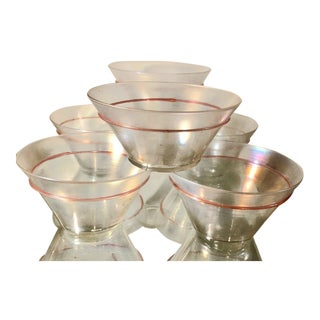 Antique Venetian Glass Bowls W Pink Trim - Renee Taylor Estate 6 of 20 For Sale
