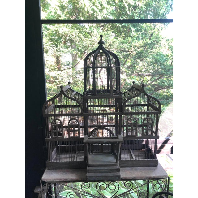 Victorian Antique Victorian Iron Wire & Wood Mansion Style English Folk Art Bird Cage For Sale - Image 3 of 13