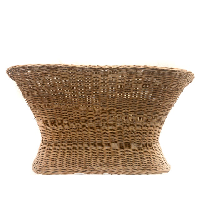1970s Vintage Woven Rattan Wicker Settee For Sale - Image 4 of 6