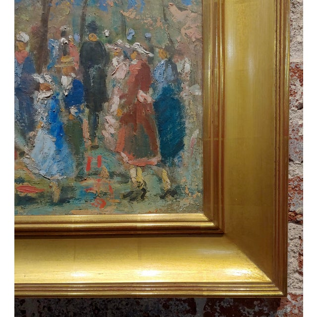 """Paint French Impressionist """"Ladies With Parasol in an Outdoor Party"""" C.1900s For Sale - Image 7 of 10"""