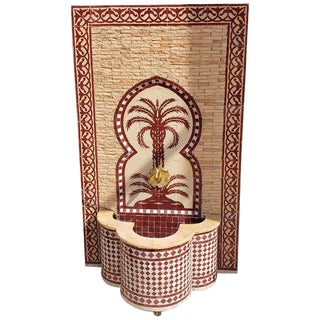 Moroccan Mosaic Tan Fountain For Sale