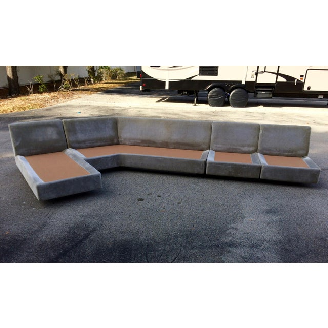 1960s Mid Century Modern Curved Sectional Sofa Style Of
