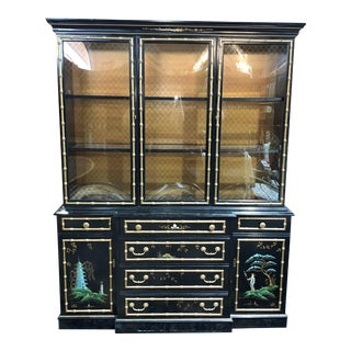 Jasper Chinoiserie China Cabinet With Desk For Sale