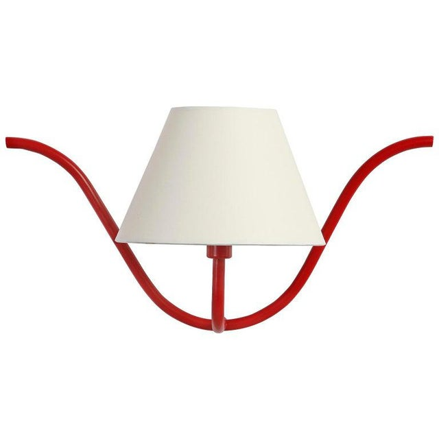 Mid-Century Modern Jean Royère Style Ondulation I Wall Light in Red For Sale - Image 3 of 3