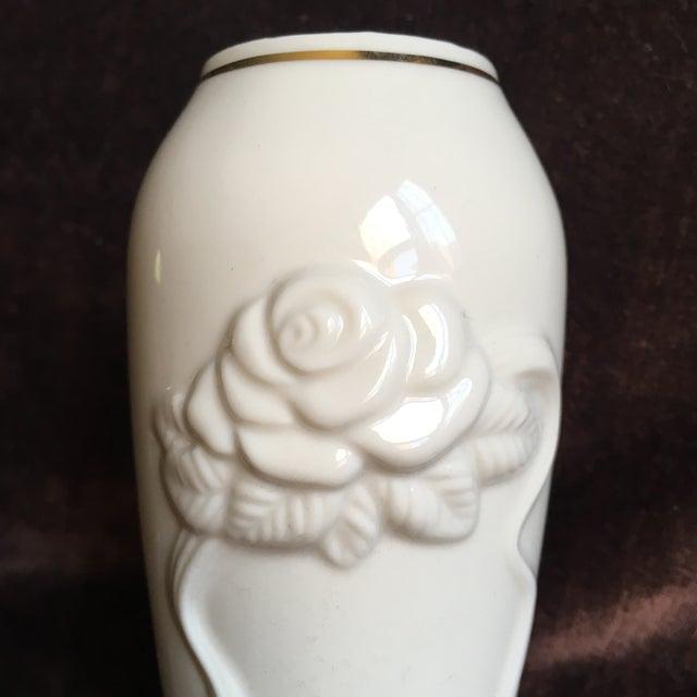 1980s Shabby Chic Lenox Ivory Porcelain Rosebud Vase For Sale In New York - Image 6 of 9