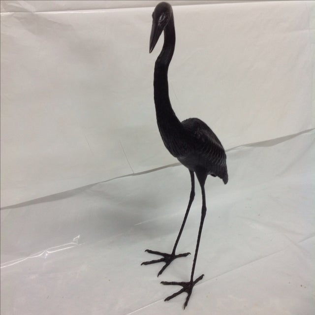 Asian Monumental Bronze Crane by Somchai For Sale - Image 3 of 6