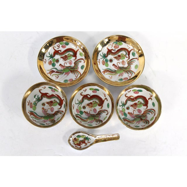 Asian Chinese Porcelain Soup Bowl Set - 6 Pieces For Sale - Image 3 of 6