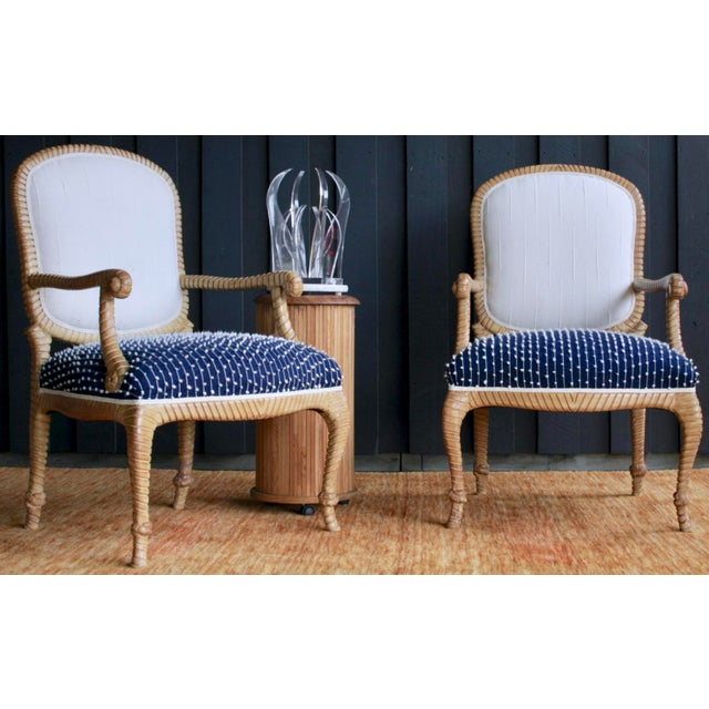 Newly Upholstered Rope & Tassel Armchairs, a Pair For Sale - Image 12 of 12