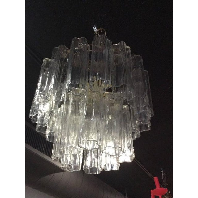 Transparent Vintage Murano Glass Chandelier Tronchi For Sale - Image 8 of 12