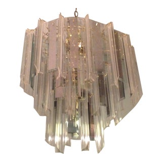 Mid-Century Glass and Lucite Brass Chandelier