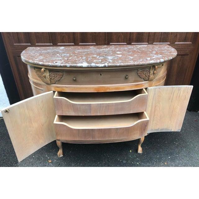1940s Gustavian Limed Oak Marble Top Sideboard For Sale - Image 9 of 13