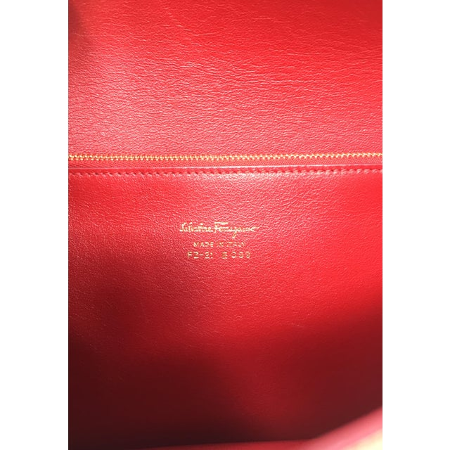 Beautiful Rouge Box Leather Salvatore Ferragamo Top Handle or Cross Body Bag For Sale - Image 9 of 12