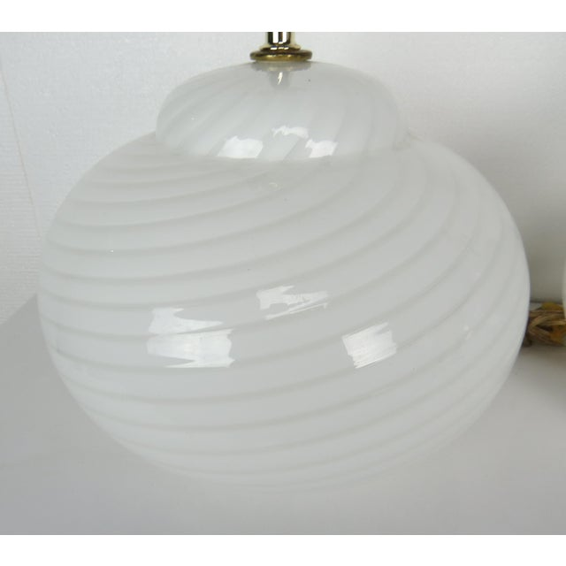 Vetri Mid-Century Modern Murano Glass Swirl Lamps - a Pair For Sale - Image 4 of 13