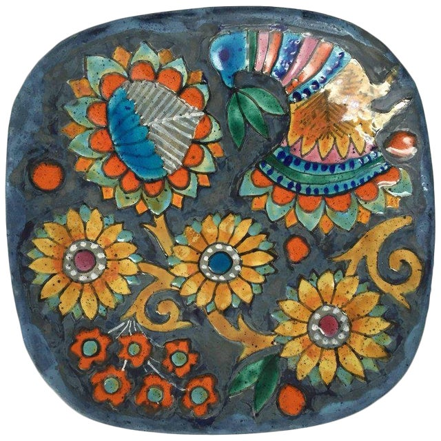 Hand-Painted Charger by Master Potter Marjatta Taburet Quimper France Circa 1960 For Sale
