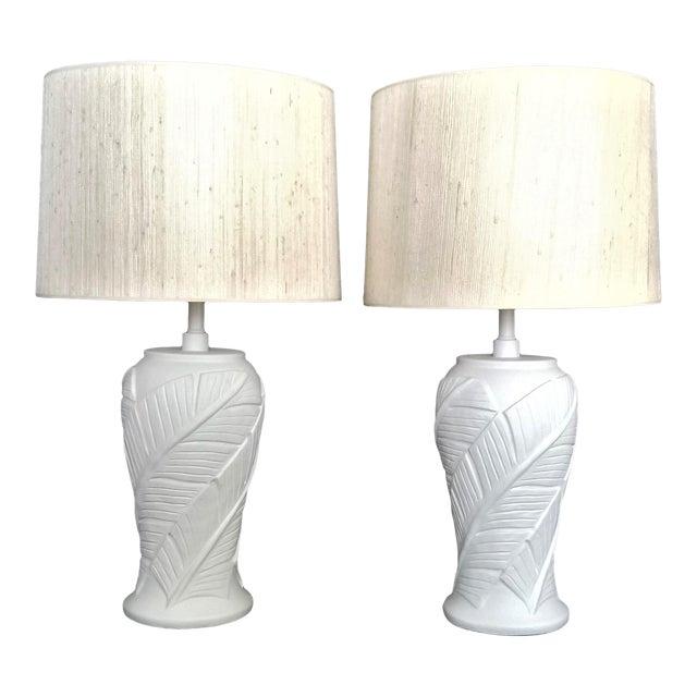 White Plaster Palm Leaf Lamps - a Pair - Vintage Mid Century Modern Tropical Coastal Palm Beach Banana Tree Nautical For Sale