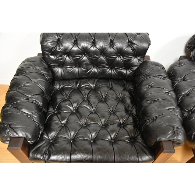 Tufted Leather Lounge Chairs - a Pair - Image 8 of 10