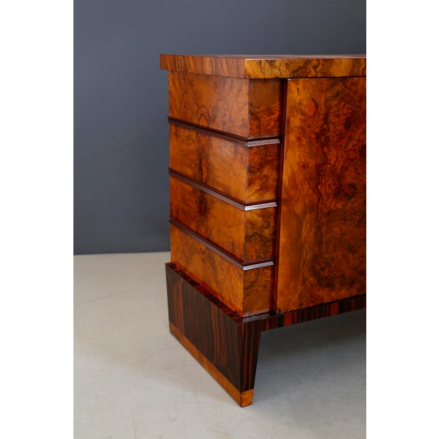 Gio Ponti Sideboard Midcentury in Walnut Briar and Brass Attributed, 1950s For Sale - Image 10 of 11