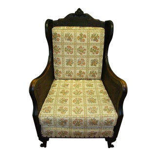 Reupholstered 1880 Victoria Antique Caned Black Walnut Arm Chair For Sale