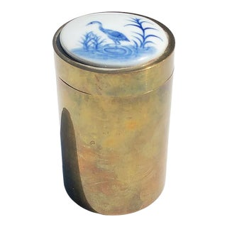 Round Ceramic and Brass Container With Removable Blue and White Crane Top For Sale
