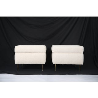 Pair of Italian Mid-Century Modern White Boucle Ottomans on Brass Legs Preview
