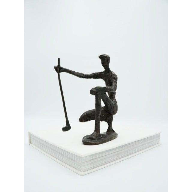 Vintage Bronze Golfer on the Green Sculpture For Sale - Image 9 of 9
