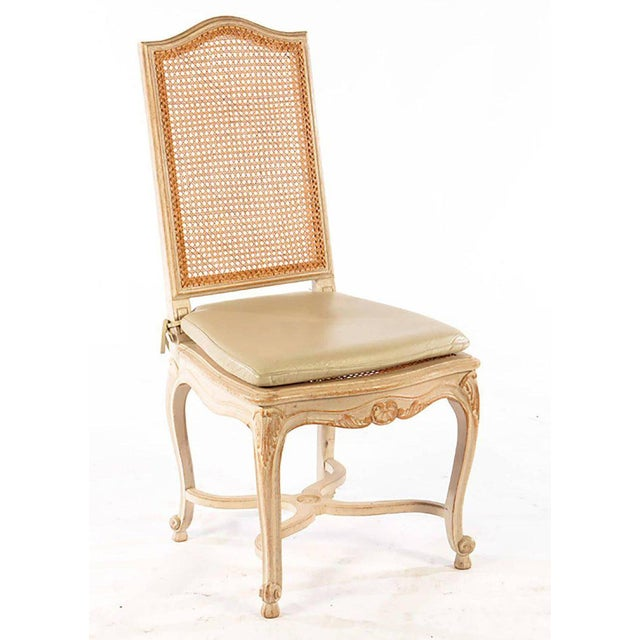 Set of six Louis XV style high back caned and painted dining chairs with leather cushions, very comfortable.
