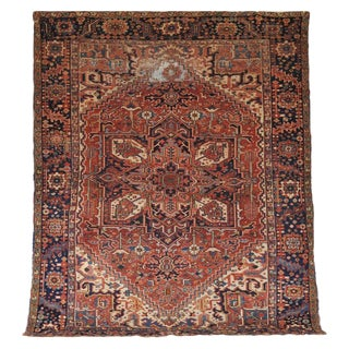 1930s Vintage Persian Tribal Heriz Serapi Rug - 9′4″ × 11′2″ For Sale