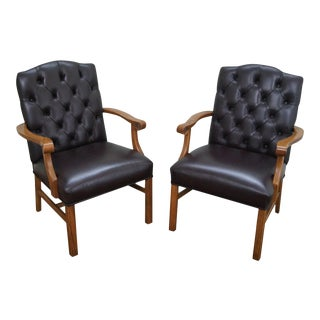 Tufted Leather Chesterfield Chippendale Chairs (D)