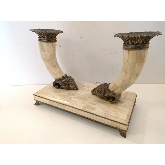 English 20th Century English Traditional Maitland Smith Tessellated Bone Cornucopia With Cast Metal Rams Heads For Sale - Image 3 of 10