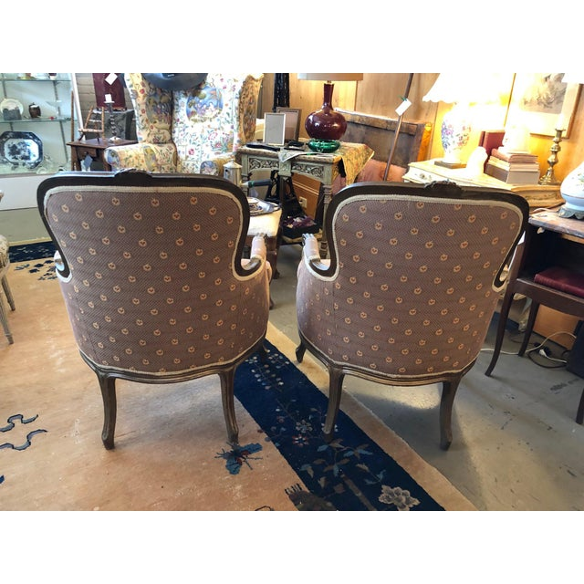 Early 20th Century Early 20th Century Vintage Louis XV Style Walnut Bergere Chairs - A Pair For Sale - Image 5 of 10