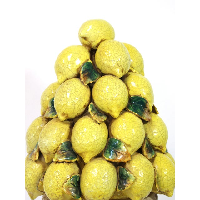 """Large 24"""" high Italian stacked lemon majolica topiary centerpiece. Hand-made and hand-painted and glazed. Mid-century,..."""