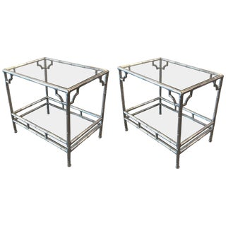 1970s Mid-Century Modern Cast Aluminum and Glass End Tables - a Pair