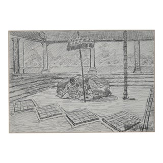 John Van Der Sterren (Dutch, B.1938) Temple Interior Original Charcoal 20th C. For Sale