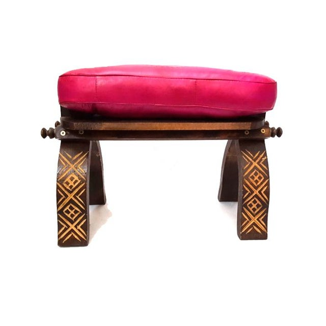 Fuchsia moroccan leather footstool bench chairish Moroccan bench