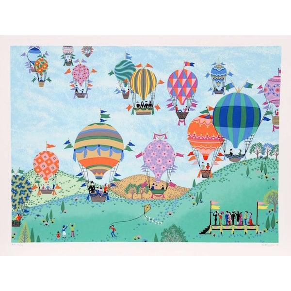 Surrealism Jack Hofflander Balloon Race Serigraph For Sale - Image 3 of 3