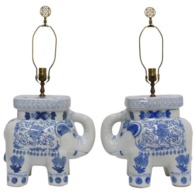 Chinese Blue & White Elephant Table Lamps - A Pair - Image 1 of 10