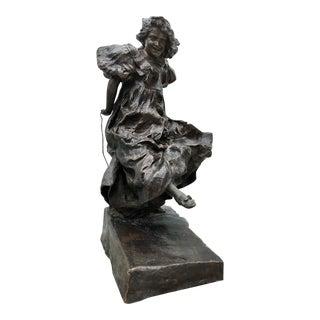 Giuseppe Renda [1859-1939] Italian Bronze : Young Girl Rope-jumping, Ca.1890. For Sale