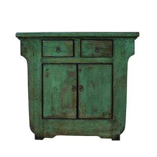 Distressed Green Lacquer Oriental Mid Size Credenza Table Cabinet For Sale
