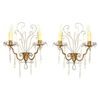 French 1940s Gilt Metal Wall Sconces Attrib. to Baguès - a Pair For Sale